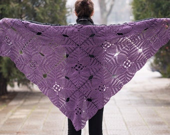 Purple triangle scarf shawl - viscose and cotton unique handmade crochet