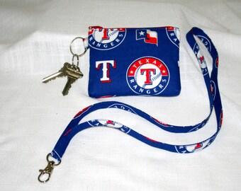 Texas Rangers Lanyard Coin Bag, Keys Badge Lanyards,  Key Ring Bag, Game Time Bag, Hands Free Bag, ID Case, Stadium Coin Bag,