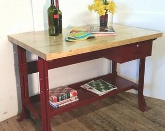 Kitchen Island Desk Table Vintage Workbench Claret Wine Metal 48 X 30 Butcher Block Top Industrial Heavy Duty INV 2