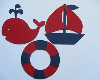 6 Nautical (3 size options) Theme Decorations, Diecut Cutouts, for Diaper Cake, Centerpiece, Birthday Party, Baby Shower, Red Navy