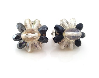 Vintage West Germany Button Style Black Beaded Clip On Earrings / Gift for Her / I292
