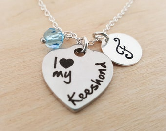 I Love My Keeshond Charm - Dog Necklace -  Swarovski Birthstone - Initial Necklace - Personalized Necklace - Sterling Silver Necklace