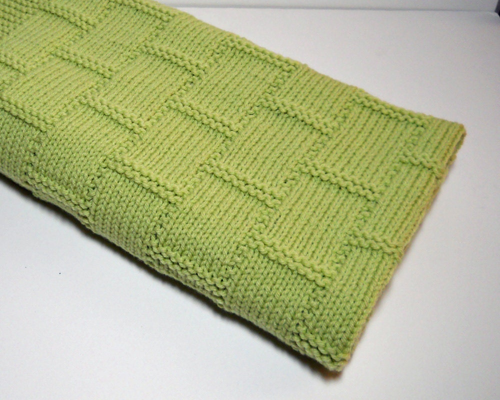 Knit Baby Blanket Afghan In Green Knitted In By