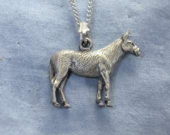 Standing Mule, Pendant, Lead Free, Handmade, Hand Cast, Pewter Finish