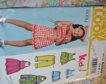 New Look 6260 Girls Dress Top Pants and Shorts Sewing Pattern  - UNCUT - Sizes 3 - 8