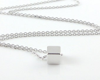 Dainty Necklace, Tiny Silver Cube, Delicate Fine Chain, Single Cube Bead, Contemporary Minimalist Geometric Jewellery
