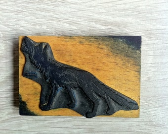 French vintage rubber stamps wolf scrapbooking, wrapping