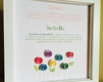 Name Art, 3D Paper Art FLower Garden , customize with your name and color theme