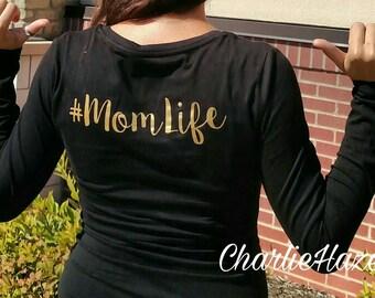 Mom Life Long Sleeve Black Shirt, Strech Knit