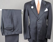 Dated 1920s Black Silk SB Suit - Large Size - Gatsby