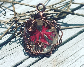 Copper Wire Wrapped Red Leaf
