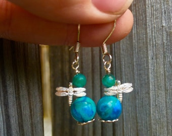 Ocean Fly - Semi-precious stone with Sterling dragonfly accent and sterling ear wire