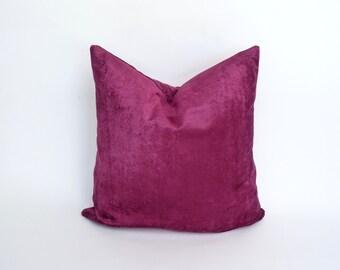 magenta velvet pillow case // pink crushed velvet cushion case // pink velvet pillow // crushed velvet