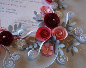 Rose Theme Wedding Invitation Framed Keepsake Embellished With Pink & Burgundy Flowers