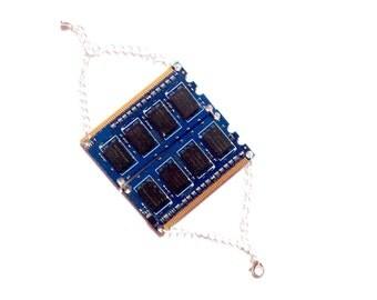 Blue RAM card bracelet geek tech computer cyberpunk memory link techno