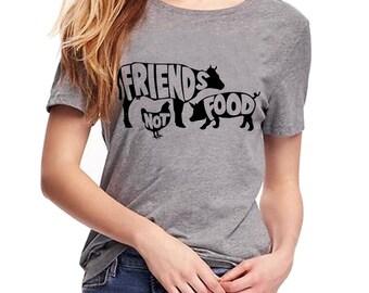 Friends not food T Shirt- Vegan Tee - Vegetarian Tee - Vegan Shirt- Veggies