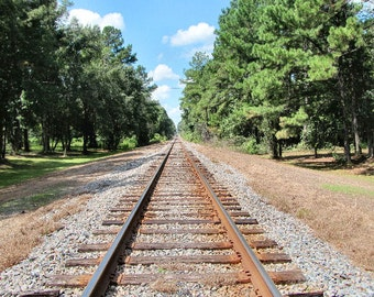 Railroad Photograph Train Tracks Photo Landscape Photography Railroad Art Print Country Decor
