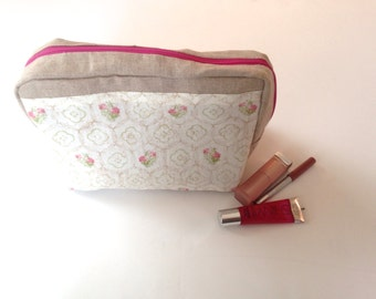 Make-up Storage Bag - Pretty in pink - Zipper Closure - Travel Size Carrier