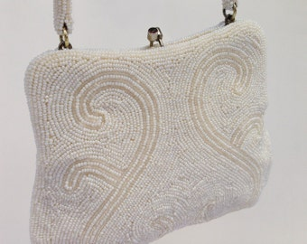 Vintage Ivory Pearl And Champagne Beaded Evening Bag, JAPAN, Bridal Purse, Bridal Evening Bag