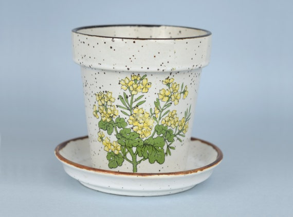 Vintage Small Ceramic Flower Pot Planter With Saucer Brown