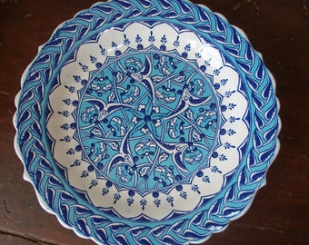 Vintage Handmade Ceramic Wall Hanging Decorative Plate from Greece Blue