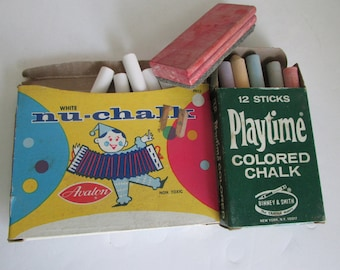 Vintage Chalk And Eraser for ChalkBoard Chalk and Erasers Playtime Colored Chalk Nu Chalk White Chalk Chalk board Chalk in Box