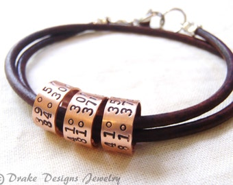 Leather custom coordinates bracelet women's or Mens personalized leather bracelet