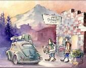Joe's Donuts - Watercolor Painting Print by Michael David Sorensen. Pacific Northwest, Oregon Donut Shop. Mt. Hood. Oval Window VW Bug.