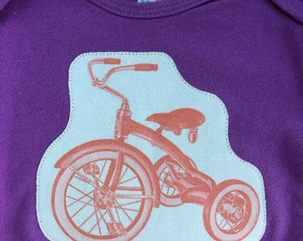 Organic Baby Onesie with Tricycle Applique