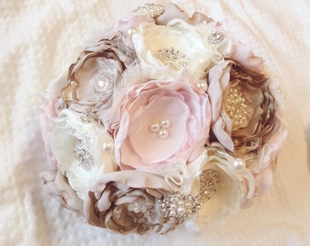 Brooch bouquet, bride brooch bouquet, fabric bouqut, blush fabric bouquet