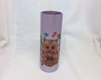 Decorated Glass with Decoupaged Owl Motif