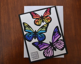 Rainbow Butterfly Card-Just For You