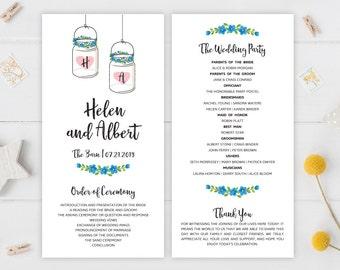 Mason jar programs for wedding | Rustic wedding programs PRINTED | Country, shabby chic, rustic wedding | Mason jar themed programs