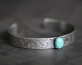 SALE // Turquoise cuff, Sterling Silver Cuff Bracelet, Destroyed, Hand Stamped, Hammered, Navajo, Mosaic, Rustic, Southwest, 10mm Wide