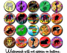 Africa Colorful African Art 1.25 inch pinback buttons pins badgesor magnets  Collectible Pins or Party Favors
