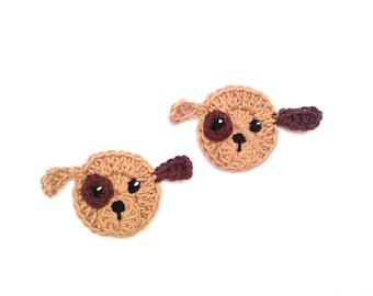 Crochet Puppy, Applique Set of 2,  Animal Applique, Crochet Dog Applique, Animal Motif, Sewn on Applique, Kids Clothing, Cute Hat Applique