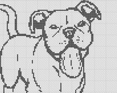 Smiling Pit Bull Pibble Staffy Silhouette Small Cross Stitch Pattern 1 Color Easy PDF Pattern