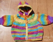 Rainbow Baby Rings Sweater ~ 0-3 months ~ Hand crocheted