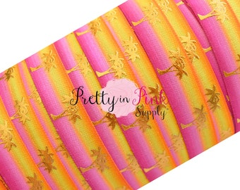 Pink Ombre Gold Metallic Palm Tree Print Elastic- Summer Elastic Under the Sea FOE Beach Theme