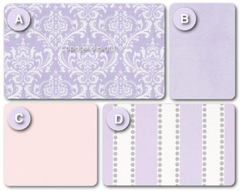 LILAC DAMASK Baby Girl Cradle Bedding Set -- Includes Cradle Pads, Baby Blanket, Fitted Sheet and Accent Pillow -- Made-To-Order