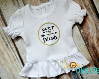 "Best Friends 18"" Doll Shirt - Gold Glitter and Black - Colors Can be Changed"