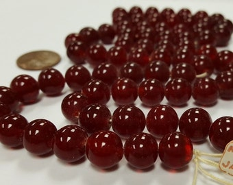90 Vintage Japanese 1950's Cherry Brand Glass Dark Ruby 10mm. Round Beads 4659