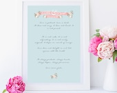 Valentines  print- Valentines day gift- romantic gifts- romantic art- Wedding Vows framed - First dance framed (Blue)