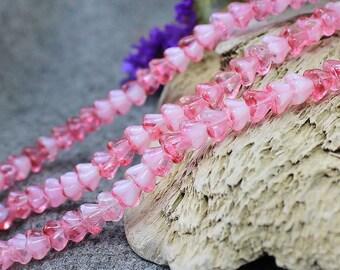 Czech Glass Flower Beads, 30Pc Pink flower Glass Beads, Czech Glass, Bell Flower Beads, Pressed Beads, Czech Glass Beads, Czech Beads 4x6mm