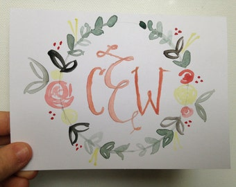 Monogrammed Watercolor Floral Stationery