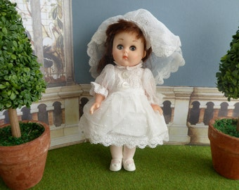 Vintage FIRST COMMUNION GINNY doll dress from early 1980s, complete with veil - also fits  8 inch Mme Alexanders, Symbol of Quality etc