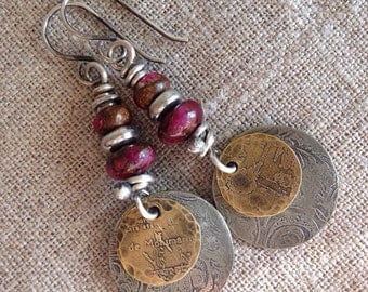 Boho Earrings Pink Quartz Etched Disc Layered Mixed Metal Handmade Bohemian Jewelry by Lori Pearl