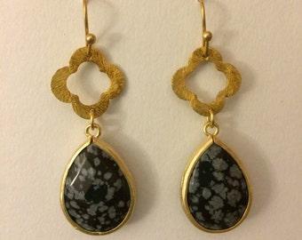 Matte Gold Black Lace Agate Teardrop Earrings