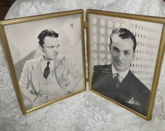 Double Metal Vintage Photo Frame w/James Cagney and Kent Taylor