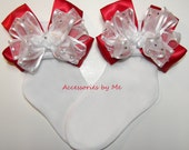 Glitzy Bow Socks Red White Organza Satin Ribbon Girls Infant Baby Toddler Children Accessories Christmas Dance Recital Wedding Party Pageant